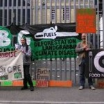 Banners outside GIB AGM
